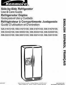 Kenmore 59651672100 User Manual 26 U0026 39  Side By Refrigerator