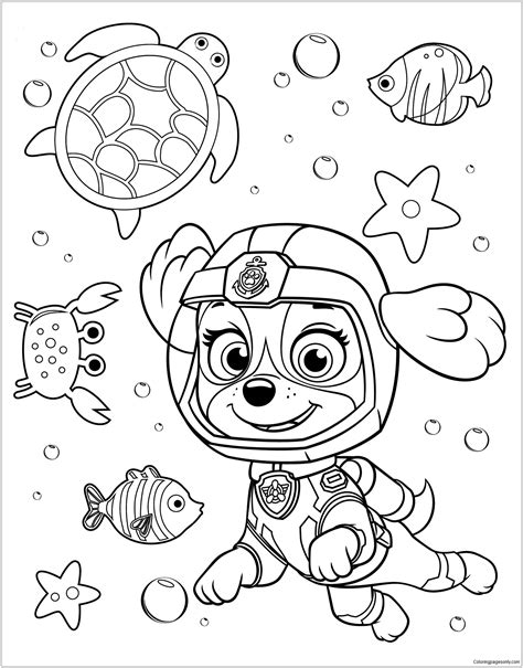 Paw Patrol Rubble Underwater 2 Coloring Page Paw patrol