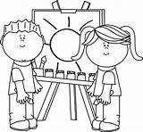 Painting Clip Coloring Easel Sheets Clipart Printable Boy sketch template