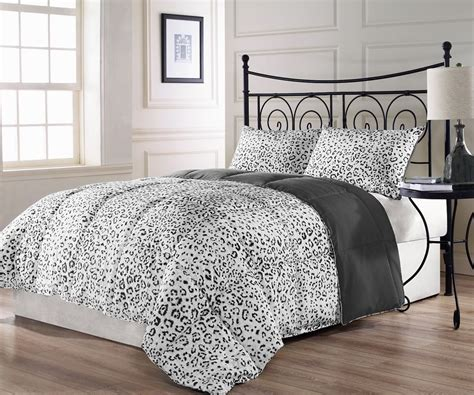snow leopard 3pc reversible charcoal grey white comforter
