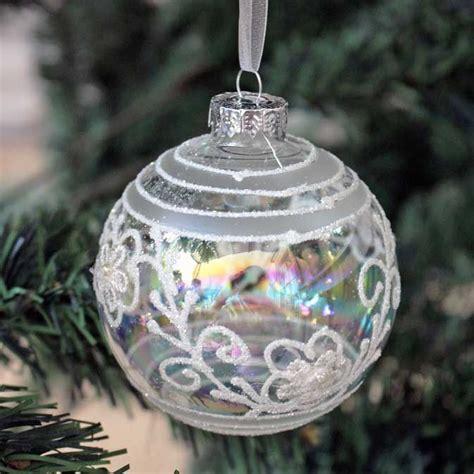 antique silver floral ball decoration