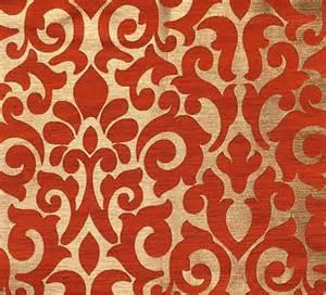 custom curtains with burnt orange gold damask pattern