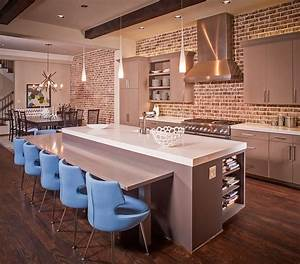 50 trendy and timeless kitchens with beautiful brick walls for Kitchen colors with white cabinets with set of three metal wall art