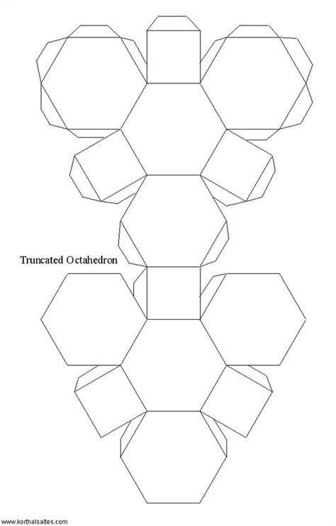 truncated cuboctahedron template paper model of a truncated octahedron art work