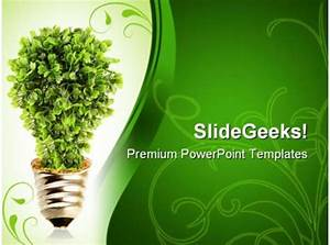 Eco Tree Lightbulb Environment Powerpoint Templates And