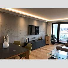 Wohnzimmerwand In Betonoptik Mit Schalungsfugen In Hannover