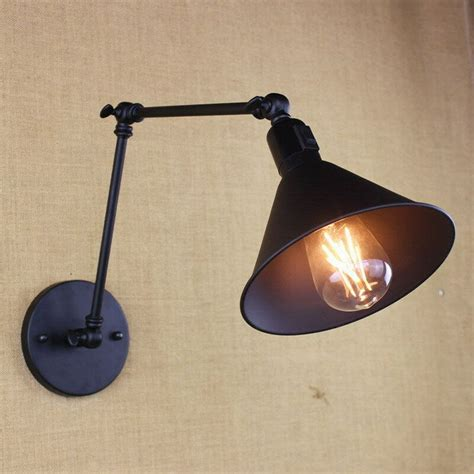 retro industrial iron swing arm wall l light