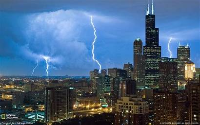 Chicago Illinois Lightning Storm National Wallpapers Usa