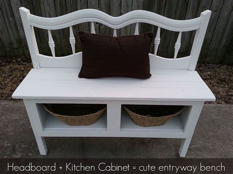 Make A Bench Out Of A Headboard And Footboard by Hometalk Headboard And A Kitchen Cabinet Make A Great