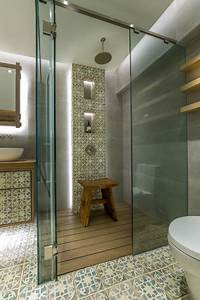 eclectic bathroom with antique tiles contemporary With kitchen cabinets lowes with hong kong skyline wall art