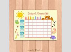 Cute school timetable template for kids Vector Free Download