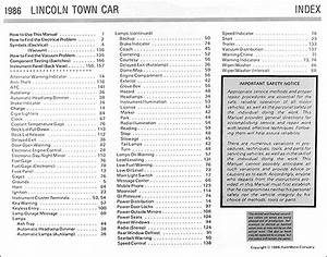 1986 Lincoln Town Car Electrical And Vacuum