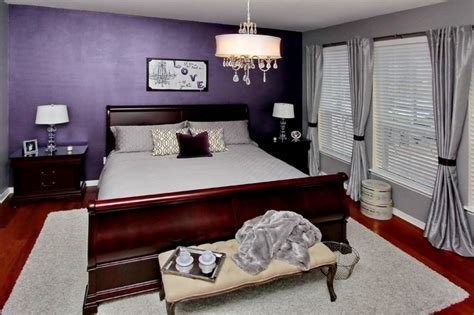 light purple and grey bedroom bewitching purple bedroom ideas for mansion bedroom 19056 | Stunning Purple Bedroom Ideas in Traditional Bedroom with Grey Bed Linen Several Grey Pillows and Dark Purple Colored Wall