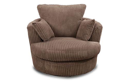 swivel cuddle chair brown fabric jumbo cord corner sofas