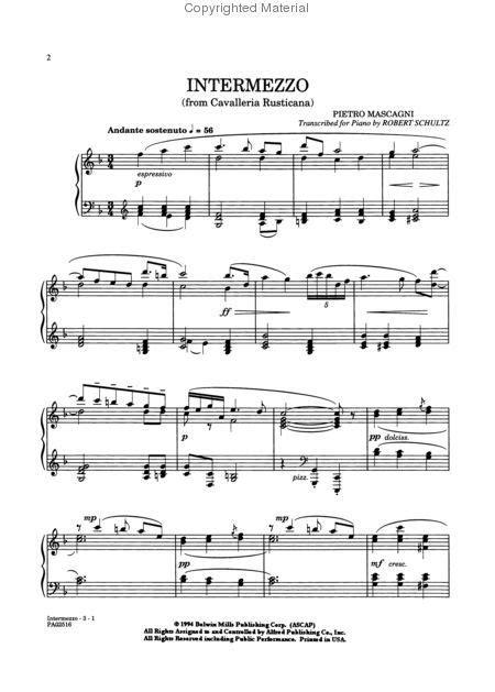 quot intermezzo quot sheet music from cavalleria rusticana opera