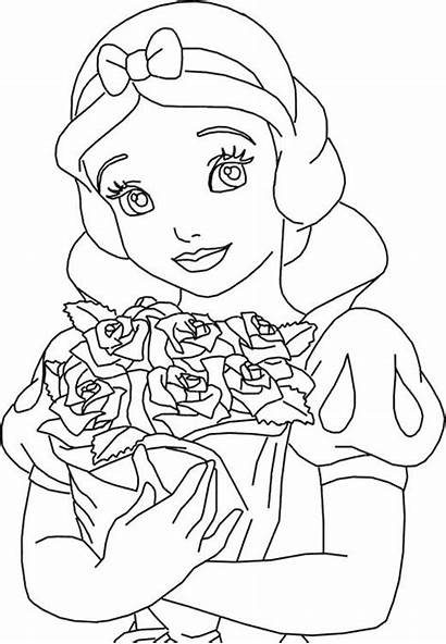 Coloring Pages Snow Princess Roses Princesscoloring Printable