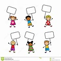 Cartoon Children With Signs Stock Vector - Image: 47779484