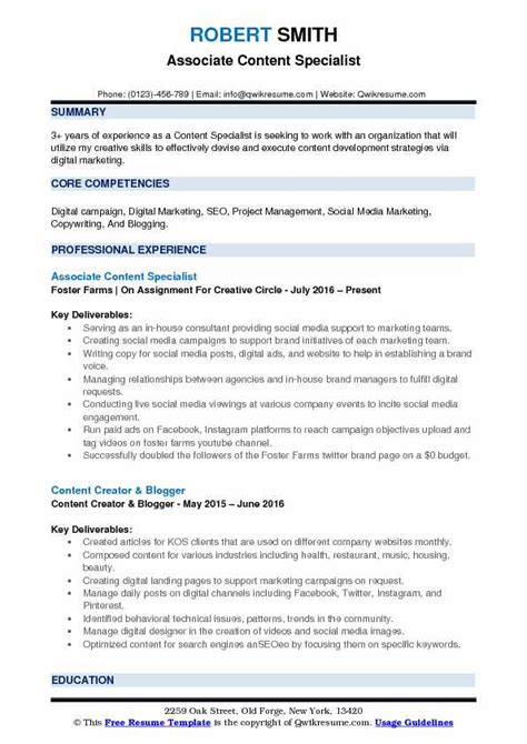 Resume Creator Script by Content Specialist Resume Sles Qwikresume
