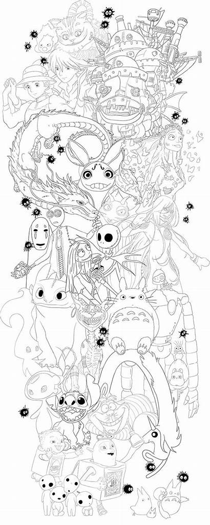 Tattoo Ghibli Line Studio Tim Burton Disney