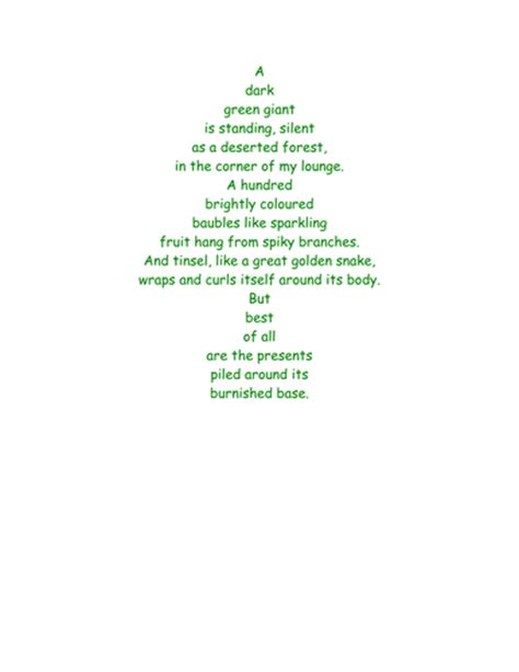 christmas tree shape poem nouns by joelroutledge