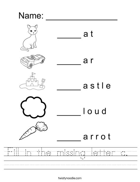 Fill In The Missing Letter C Worksheet  Twisty Noodle