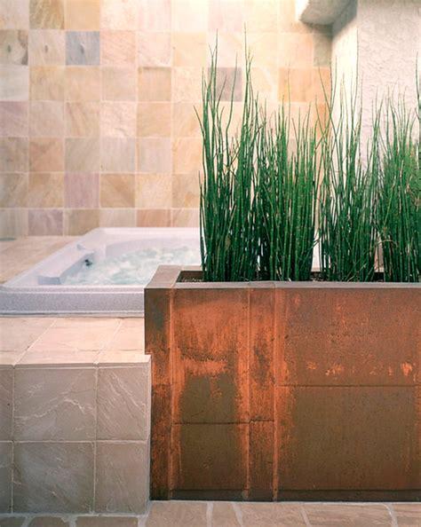 plants bathroom planter built bathtub interior copper ideal decoist