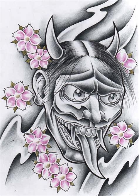 hannya evil mask tattoo design