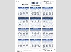 Calendar Committee 201819 Draft Calendar Preview for