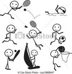 Sports Stick Figure Line Drawings