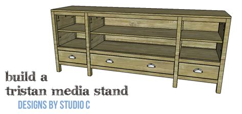 extra wide media stand  lots  storage diy