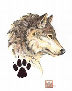 Wolf profile and paw print | Tatted up | Pinterest ...