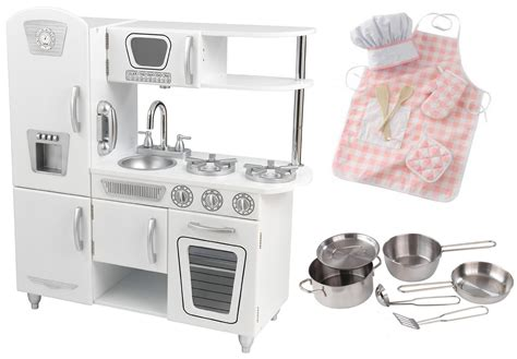 Kidkraft White Vintage Kitchen W Metal Pots & Pans Set