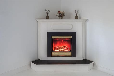 Corner Electric Fireplace Mantle White Colour. North
