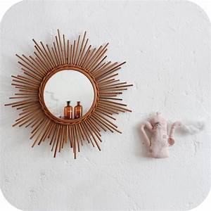 Miroir En Rotin : miroir vintage rotin forme soleil atelier du petit parc ~ Nature-et-papiers.com Idées de Décoration