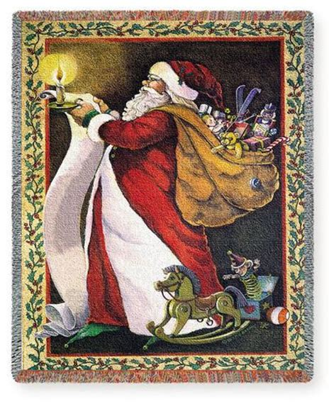 making a list christmas tapestry throw 70 quot x 53 quot