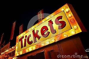 Tickets Neon Light Sign Marquee At Counter Booth Stock