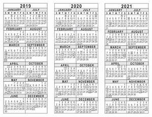 2020 Yearly Calendar Word 2019 2020 2021 3 Year Calendar