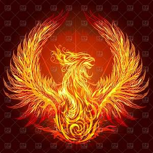 Fiery phoenix with raised up wings Royalty Free Vector ...