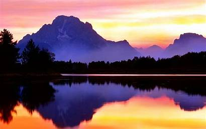 Purple Reflection Wallpapers Mountain Scenery Scenic 1850