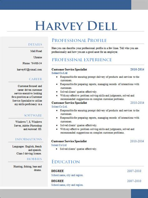 sample creative resume  documents  word