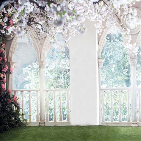 floral wedding backdrop  photography arched stone