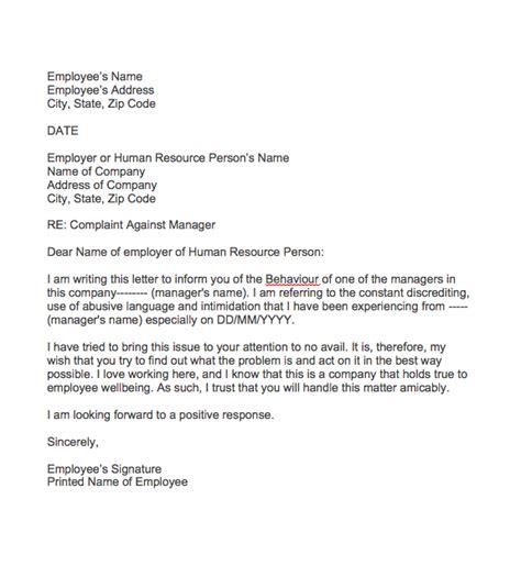 complaint letter  manager behaviour top form