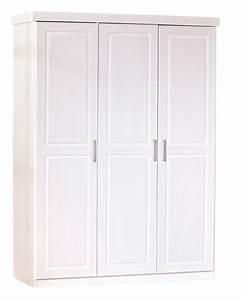 Armoire 3 Portes Pin Massif Blanc Kantus LesTendancesfr