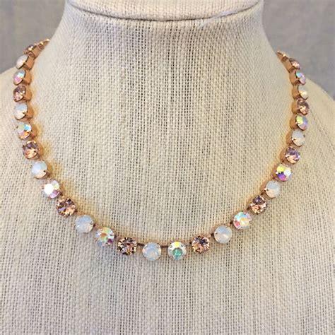 rose gold vintage rose opal bridesmaid necklace  crystal rose