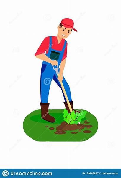 Planting Farmer Drawing Soil Digging Gardening Farming