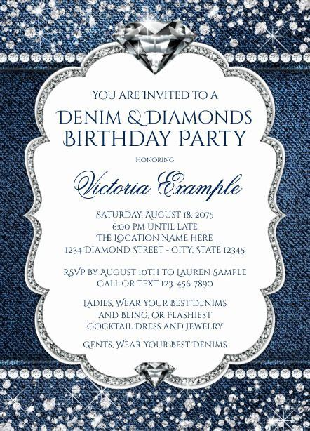 denim  diamond bling birthday party invitations denim