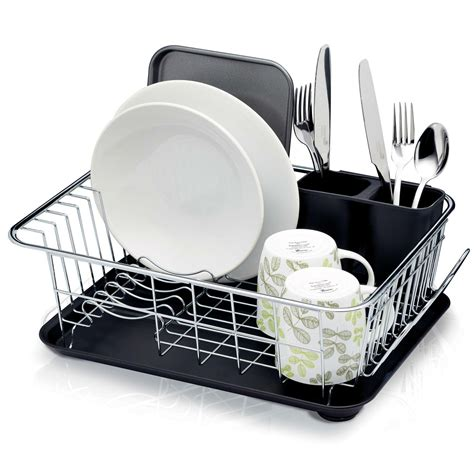 kitchen craft chrome plated dish drainer stainless steel silver  cm   cm   cm