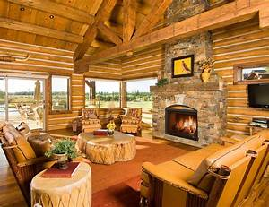 Log Cabin living room with fireplace and natural wood