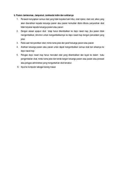7 draft prosedur pengembalian obat pasien rawat inap