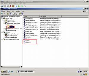 Here is my local users and groups on DC2003 server, before ...